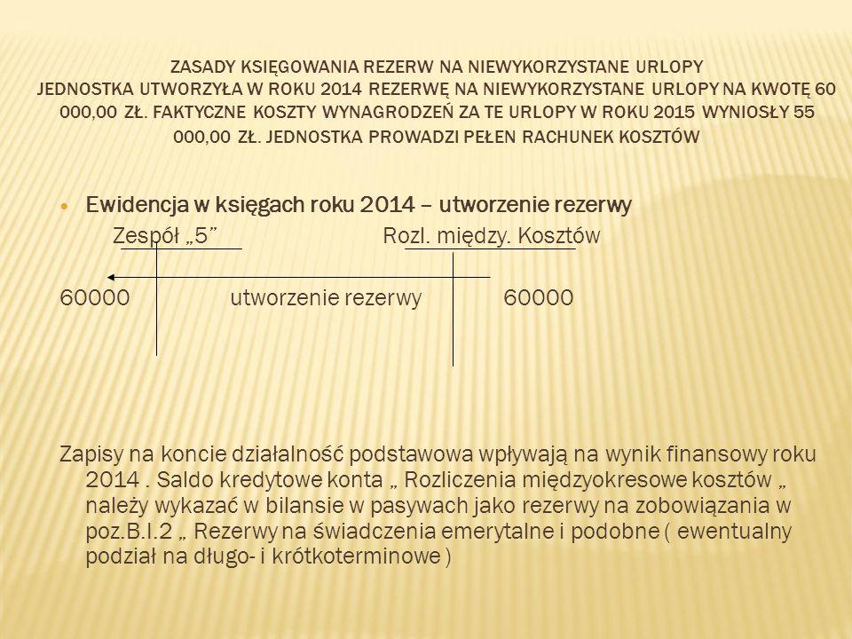 Ewidencja w księgach roku 2014 – utworzenie rezerwy