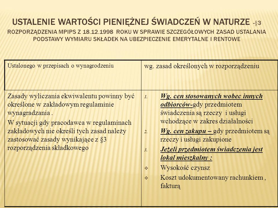 Ustalenie wartości pieniężnej świadczeń w naturze -§3 rozporządzenia MPiPS z 18.12.1998 roku w sprawie szczegółowych zasad ustalania podstawy wymiaru składek na ubezpieczenie emerytalne i rentowe
