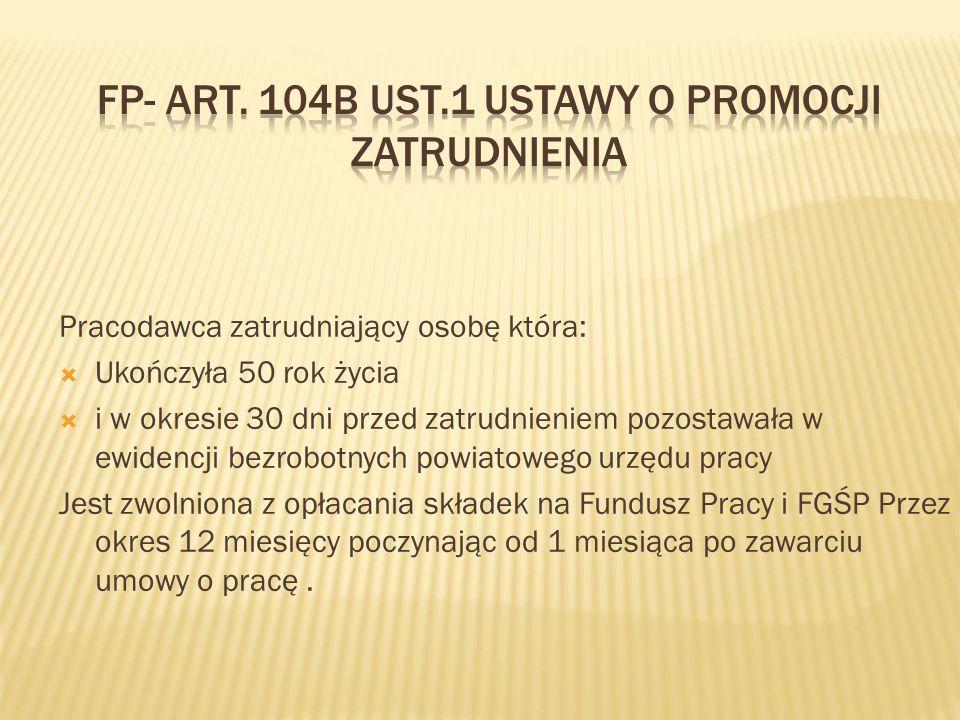 FP- art. 104b ust.1 ustawy o promocji zatrudnienia