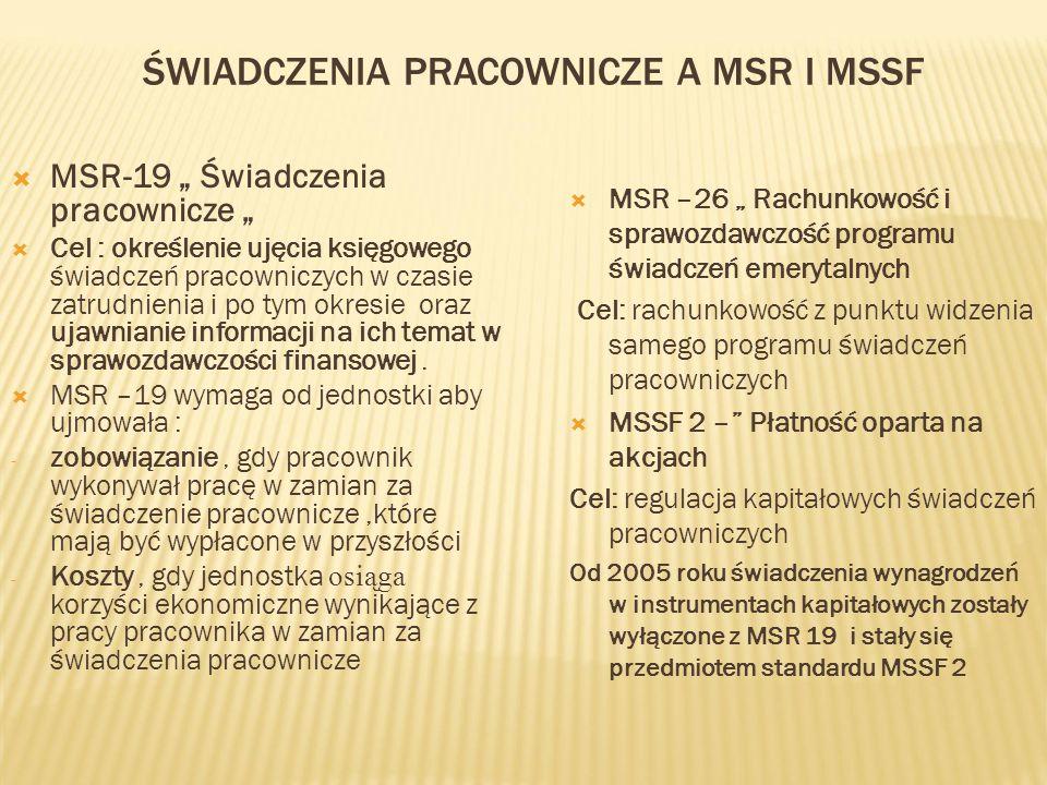 Świadczenia pracownicze a MSR i MSSF