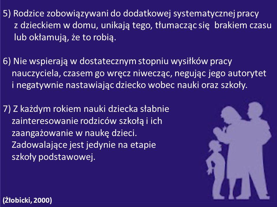 5) Rodzice zobowiązywani do dodatkowej systematycznej pracy