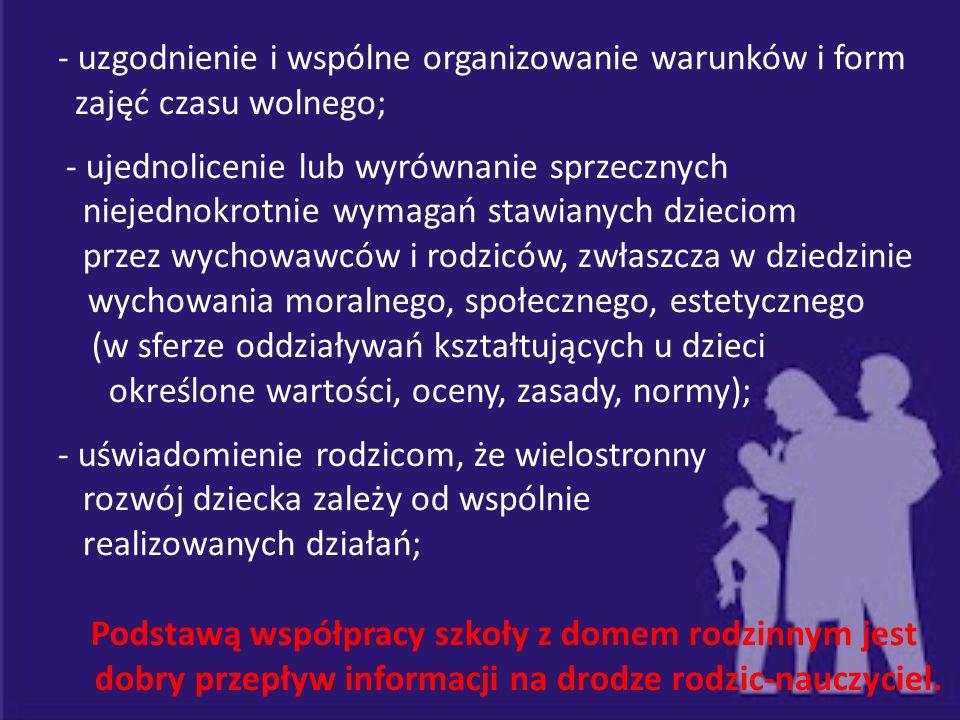 - uzgodnienie i wspólne organizowanie warunków i form