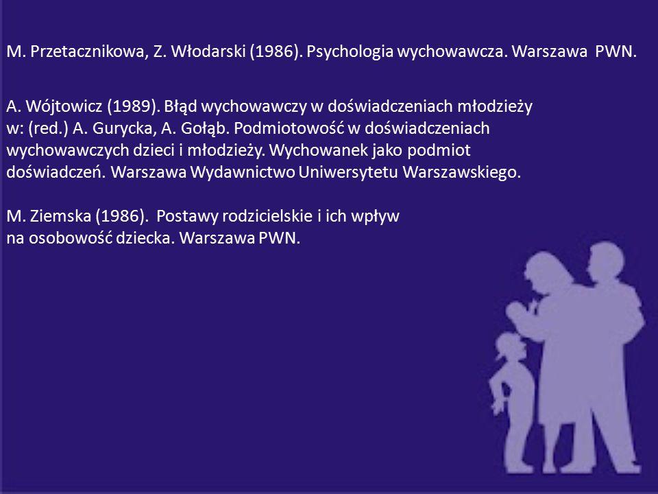 A. Wójtowicz (1989). Błąd wychowawczy w doświadczeniach młodzieży
