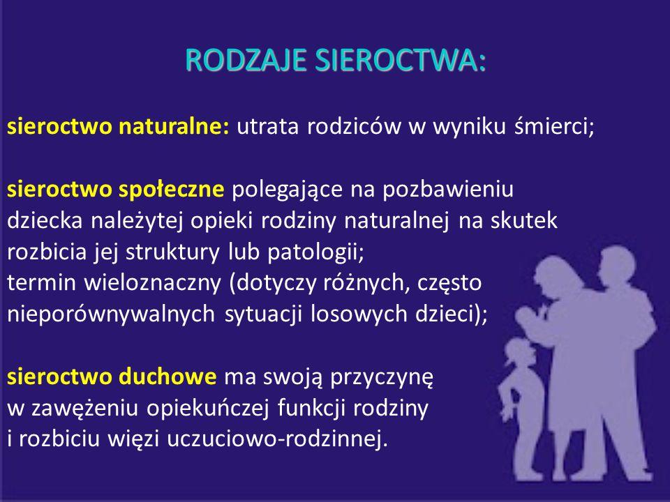 RODZAJE SIEROCTWA: sieroctwo naturalne: utrata rodziców w wyniku śmierci; sieroctwo społeczne polegające na pozbawieniu.