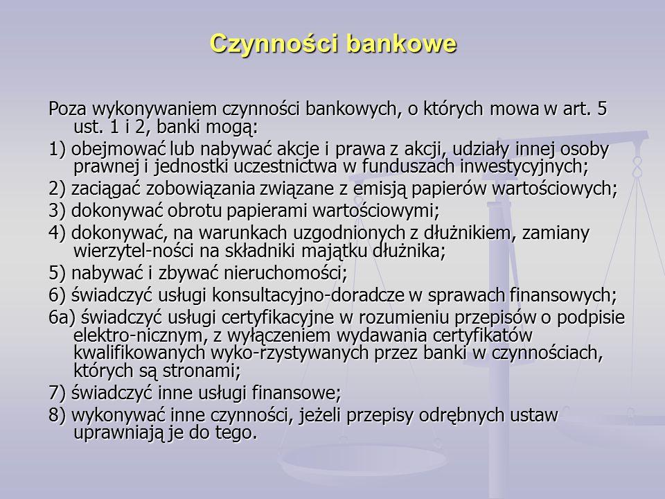 Czynności bankowe Poza wykonywaniem czynności bankowych, o których mowa w art. 5 ust. 1 i 2, banki mogą: