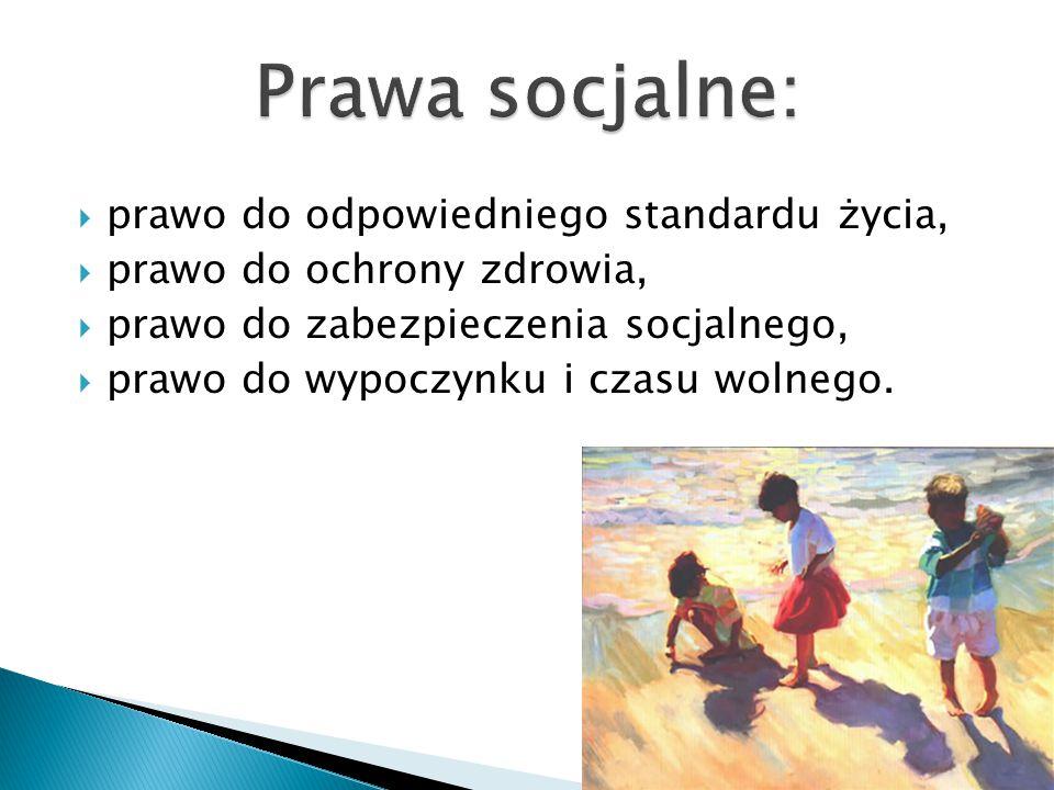 Prawa socjalne: prawo do odpowiedniego standardu życia,