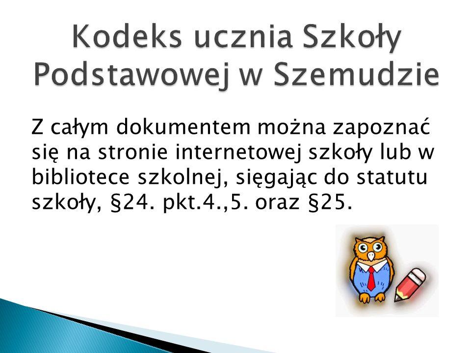 Kodeks ucznia Szkoły Podstawowej w Szemudzie