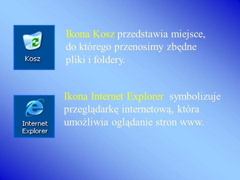 Ikona Kosz przedstawia miejsce, do którego przenosimy zbędne pliki i foldery.