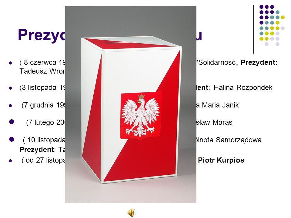 """Prezydenci po 1990 roku ( 8 czerwca 1990 - 14 października 1995 ) Partia: KO Solidarność"""" Prezydent: Tadeusz Wrona."""