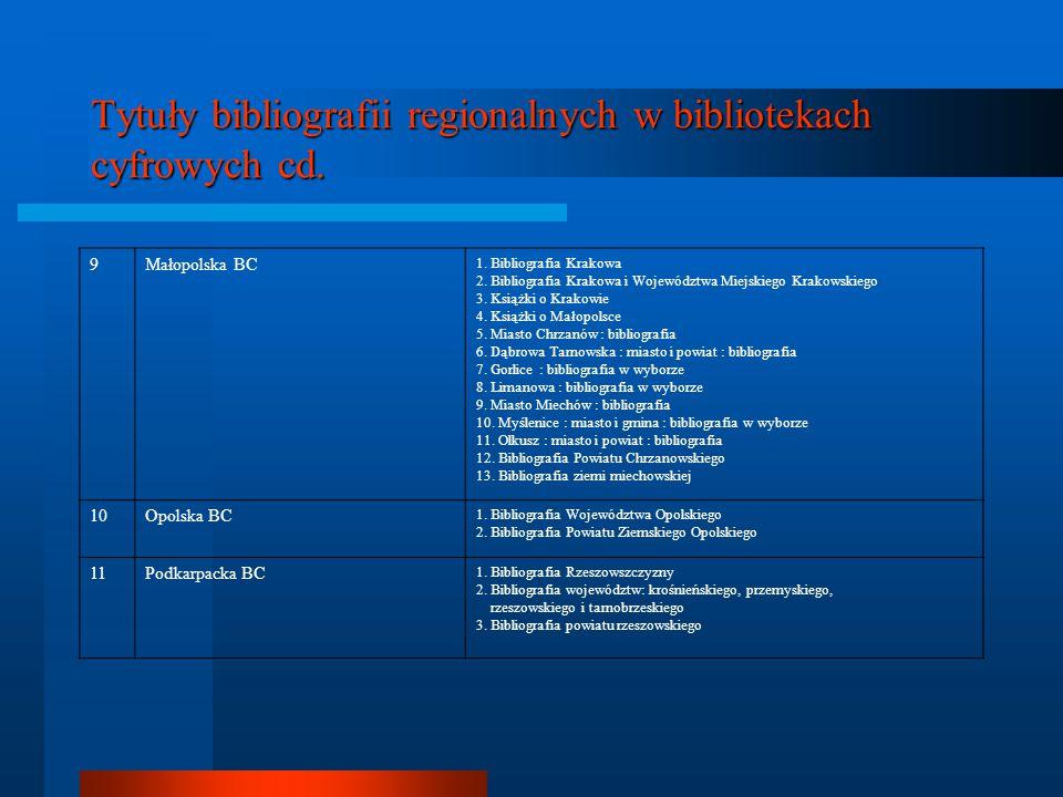 Tytuły bibliografii regionalnych w bibliotekach cyfrowych cd.