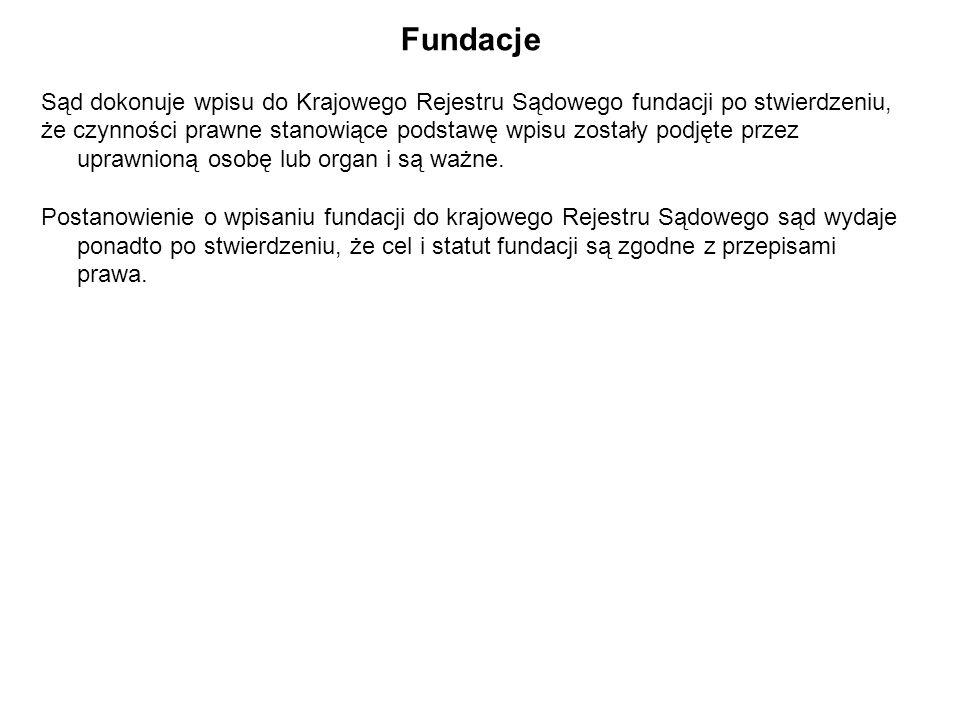 Fundacje Sąd dokonuje wpisu do Krajowego Rejestru Sądowego fundacji po stwierdzeniu,