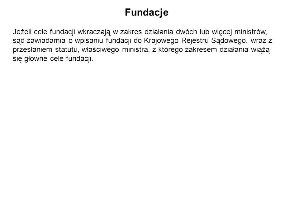 Fundacje Jeżeli cele fundacji wkraczają w zakres działania dwóch lub więcej ministrów,