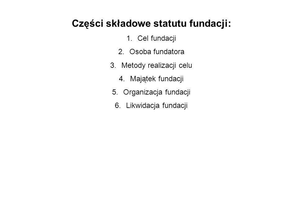 Części składowe statutu fundacji: