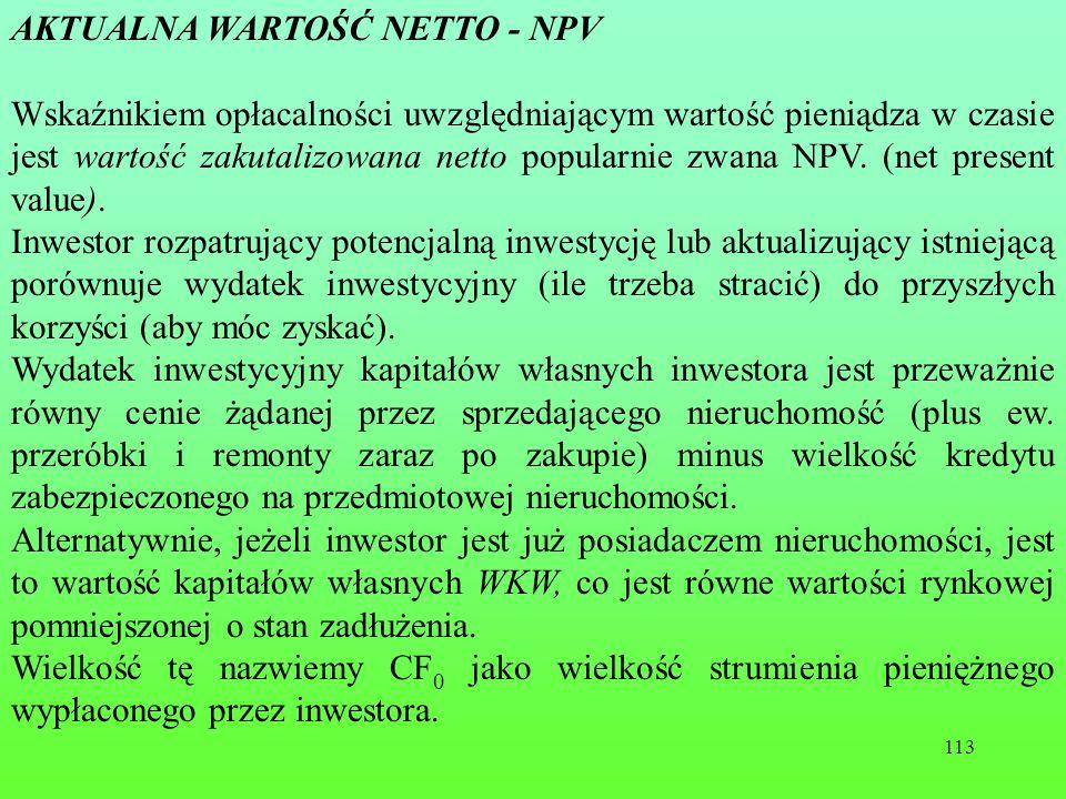 AKTUALNA WARTOŚĆ NETTO - NPV