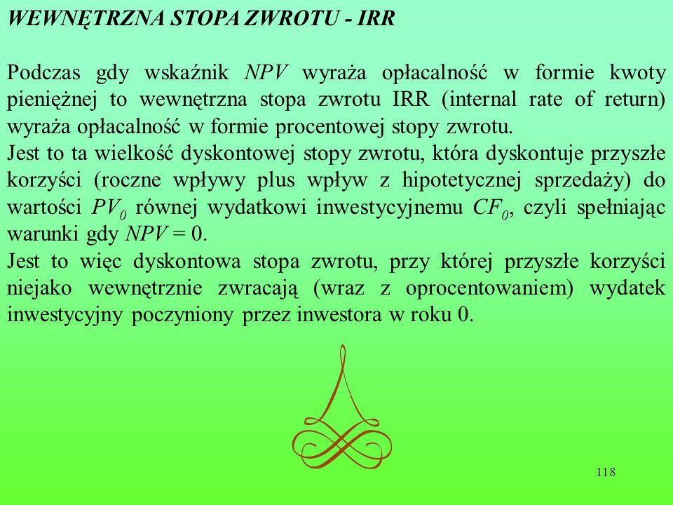 WEWNĘTRZNA STOPA ZWROTU - IRR
