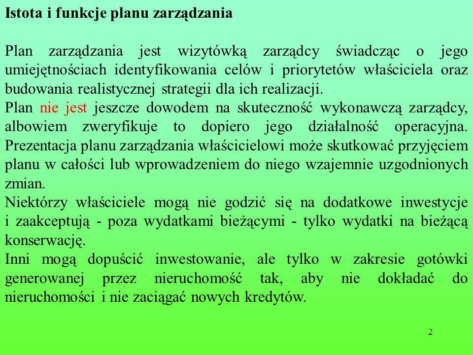 Istota i funkcje planu zarządzania