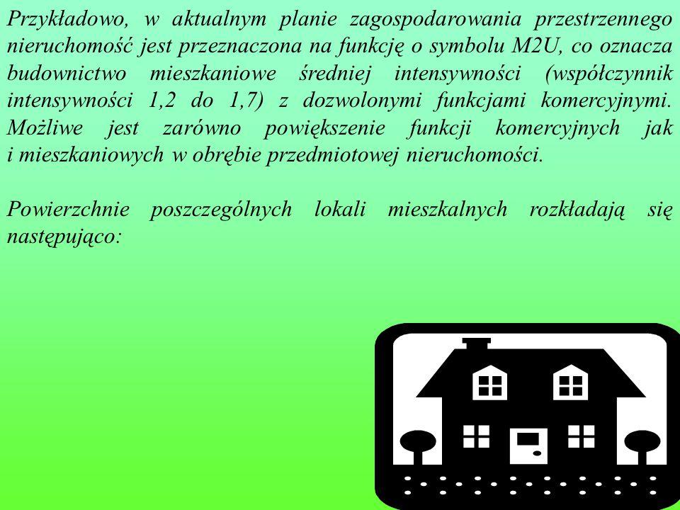 Przykładowo, w aktualnym planie zagospodarowania przestrzennego nieruchomość jest przeznaczona na funkcję o symbolu M2U, co oznacza budownictwo mieszkaniowe średniej intensywności (współczynnik intensywności 1,2 do 1,7) z dozwolonymi funkcjami komercyjnymi. Możliwe jest zarówno powiększenie funkcji komercyjnych jak i mieszkaniowych w obrębie przedmiotowej nieruchomości.