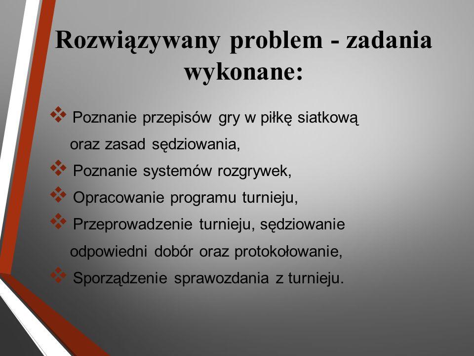 Rozwiązywany problem - zadania wykonane: