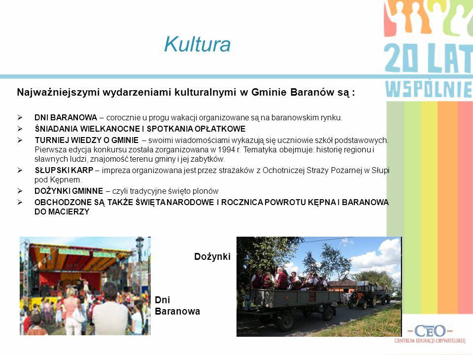 Kultura Najważniejszymi wydarzeniami kulturalnymi w Gminie Baranów są :