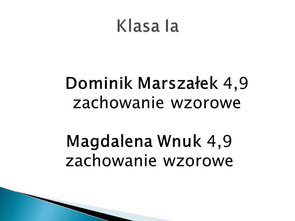 Klasa Ia Dominik Marszałek 4,9 zachowanie wzorowe Magdalena Wnuk 4,9