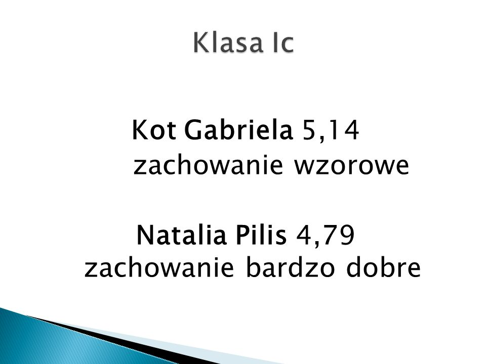 Natalia Pilis 4,79 zachowanie bardzo dobre