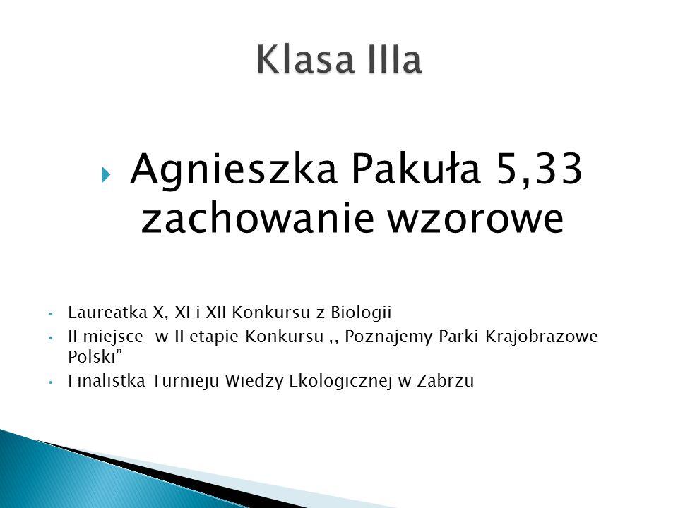 Agnieszka Pakuła 5,33 zachowanie wzorowe