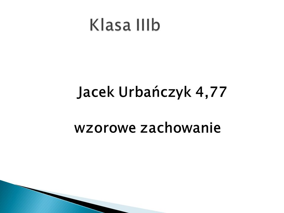 Klasa IIIb Jacek Urbańczyk 4,77 wzorowe zachowanie