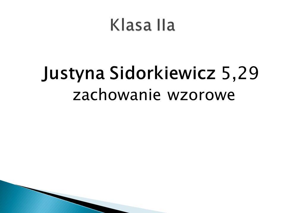 Klasa IIa Justyna Sidorkiewicz 5,29 zachowanie wzorowe