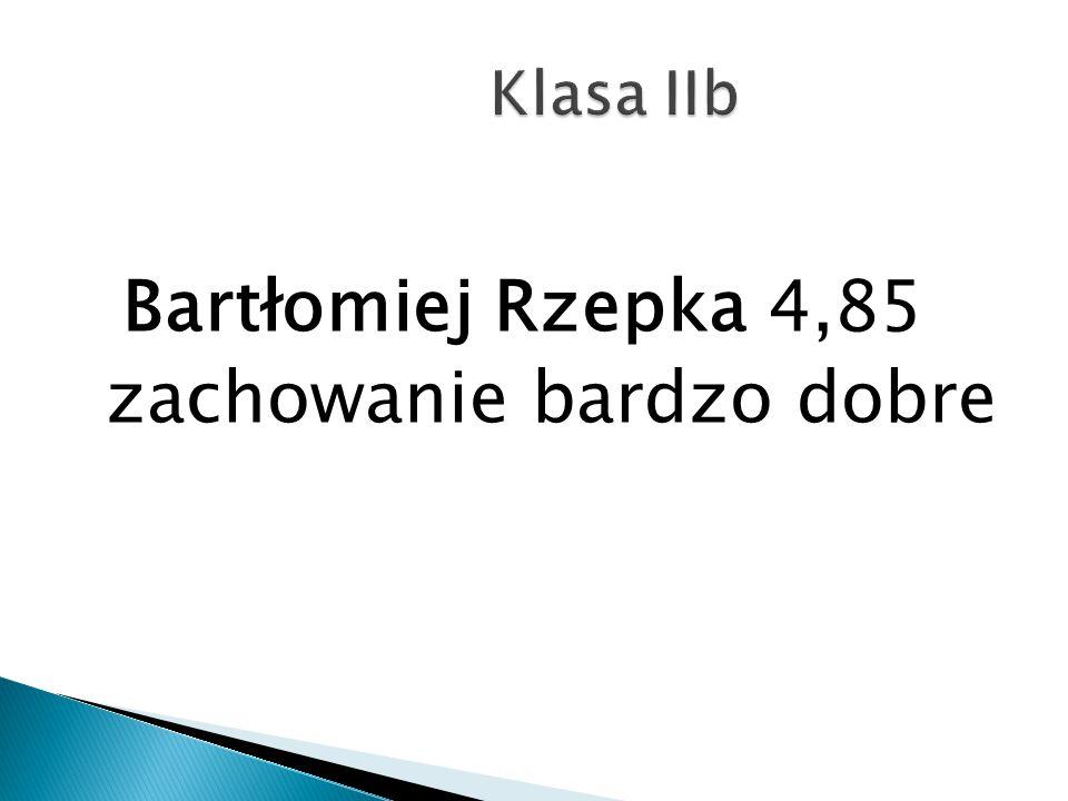 Bartłomiej Rzepka 4,85 zachowanie bardzo dobre