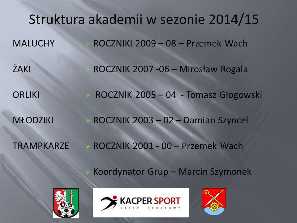 Struktura akademii w sezonie 2014/15