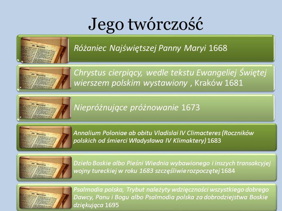 Jego twórczość Różaniec Najświętszej Panny Maryi 1668
