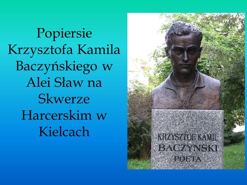 Popiersie Krzysztofa Kamila Baczyńskiego w Alei Sław na Skwerze Harcerskim w Kielcach