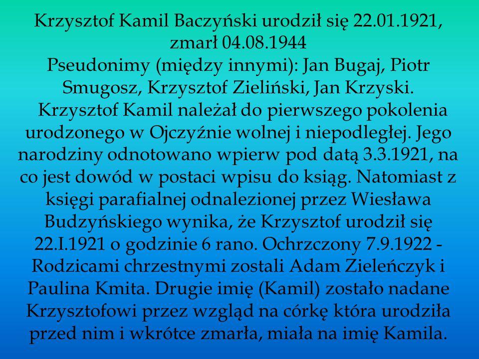 Krzysztof Kamil Baczyński urodził się 22. 01. 1921, zmarł 04. 08