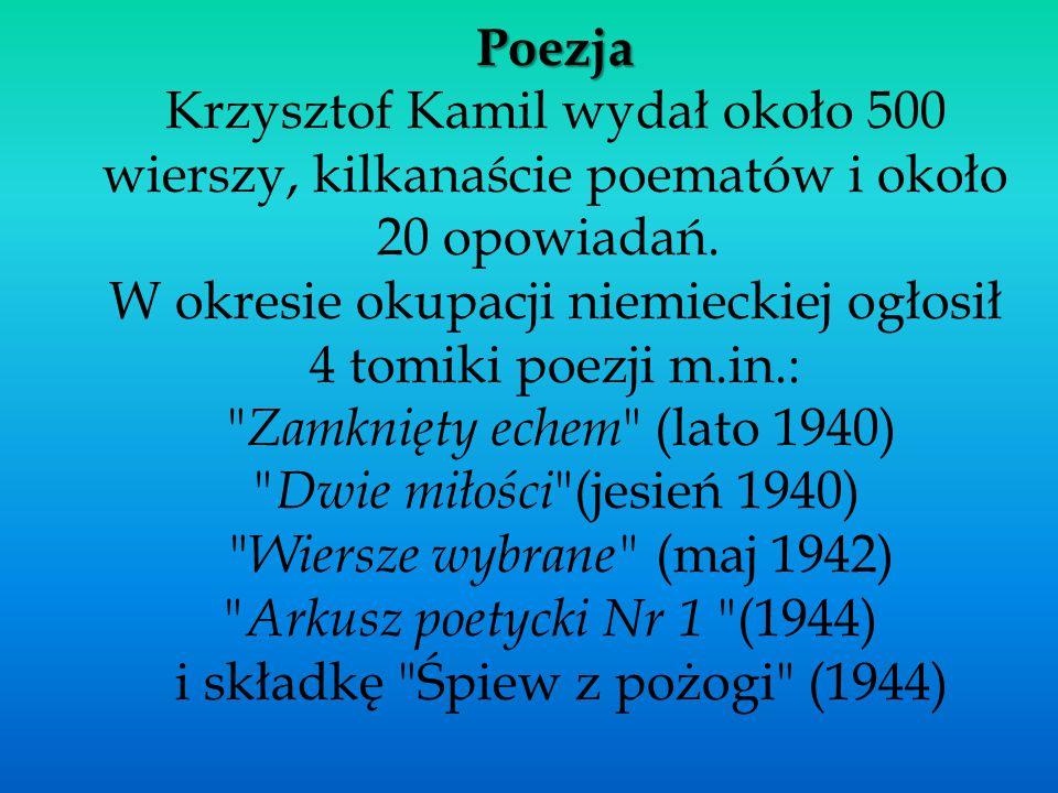 Poezja Krzysztof Kamil wydał około 500 wierszy, kilkanaście poematów i około 20 opowiadań. W okresie okupacji niemieckiej ogłosił 4 tomiki poezji m.in.: Zamknięty echem (lato 1940) Dwie miłości (jesień 1940) Wiersze wybrane (maj 1942) Arkusz poetycki Nr 1 (1944) i składkę Śpiew z pożogi (1944)