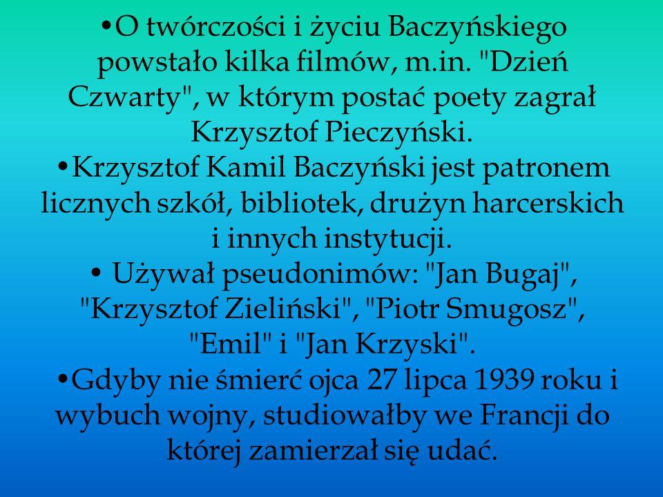 •O twórczości i życiu Baczyńskiego powstało kilka filmów, m. in