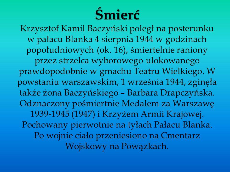 Śmierć Krzysztof Kamil Baczyński poległ na posterunku w pałacu Blanka 4 sierpnia 1944 w godzinach popołudniowych (ok.