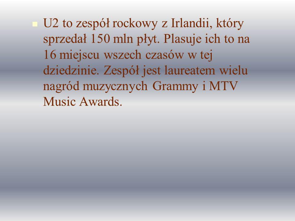 U2 to zespół rockowy z Irlandii, który sprzedał 150 mln płyt