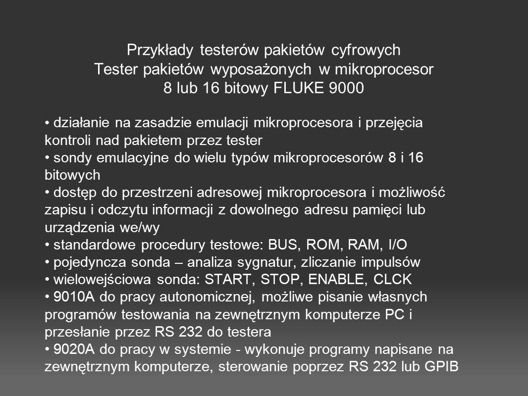 Przykłady testerów pakietów cyfrowych Tester pakietów wyposażonych w mikroprocesor 8 lub 16 bitowy FLUKE 9000