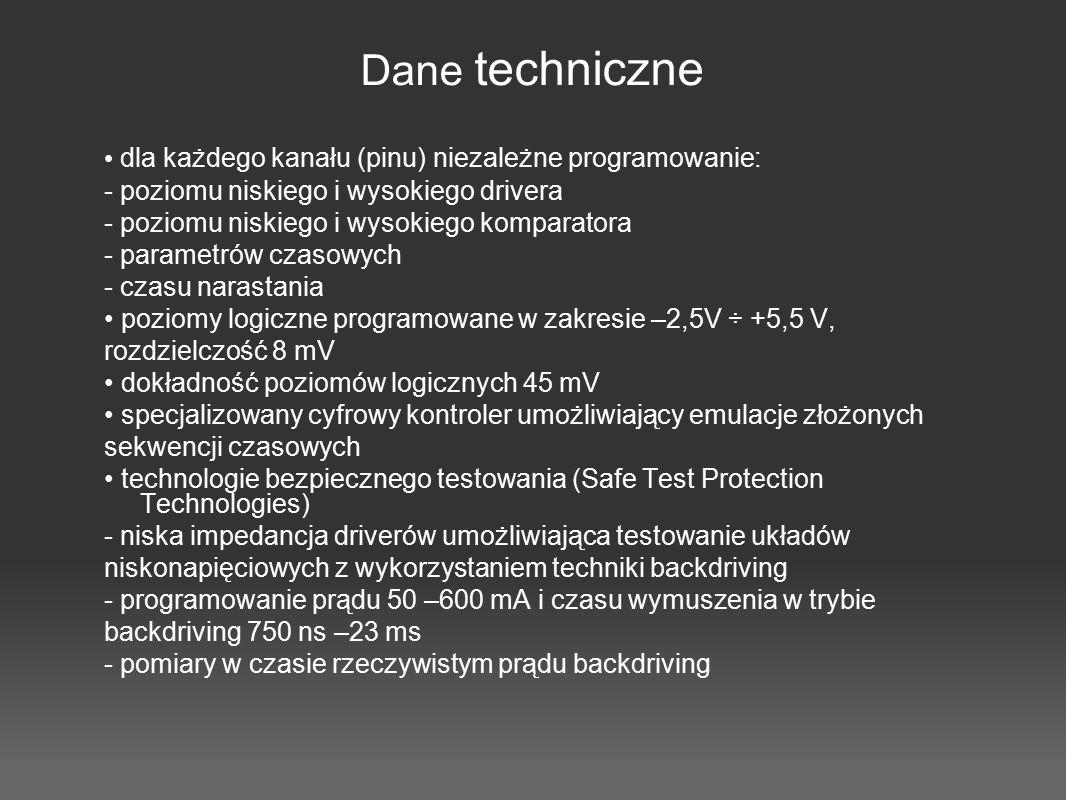 Dane techniczne • dla każdego kanału (pinu) niezależne programowanie: