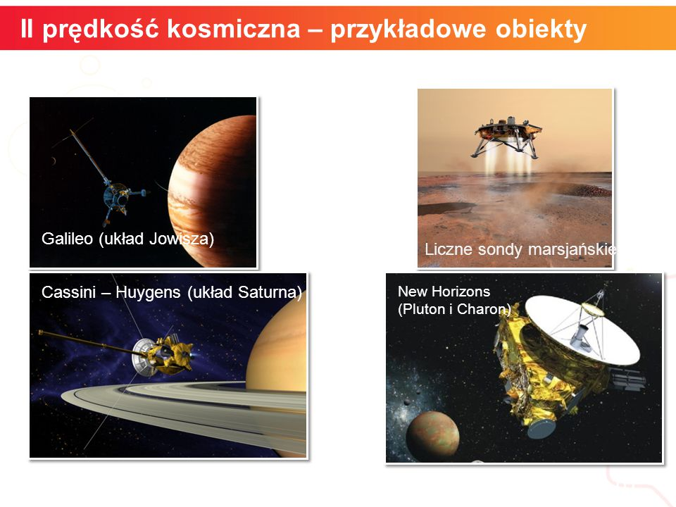 II prędkość kosmiczna – przykładowe obiekty