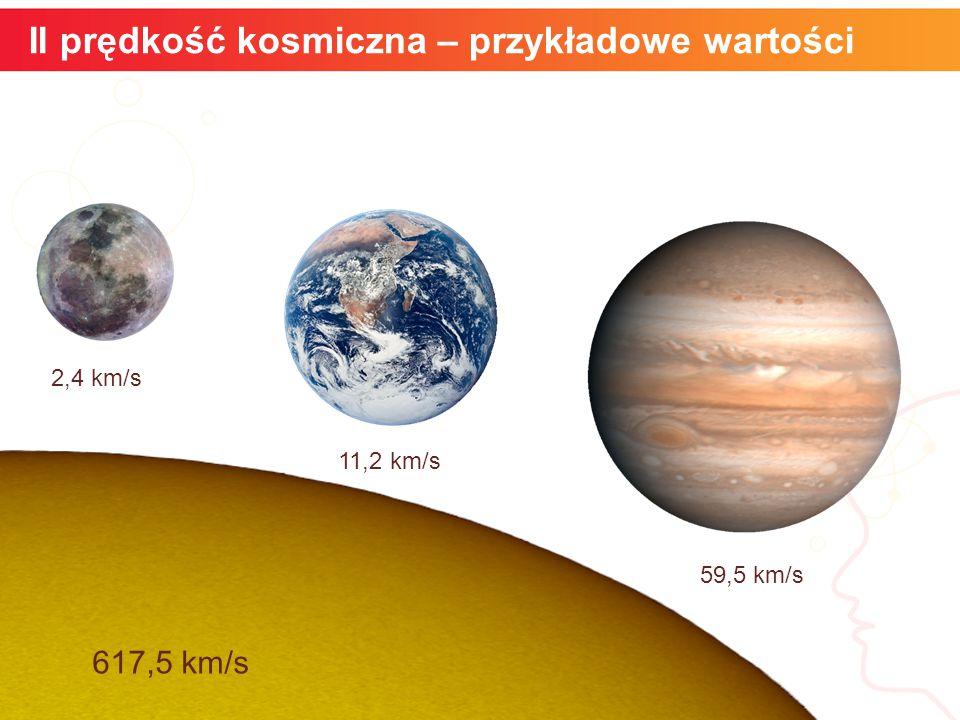 II prędkość kosmiczna – przykładowe wartości