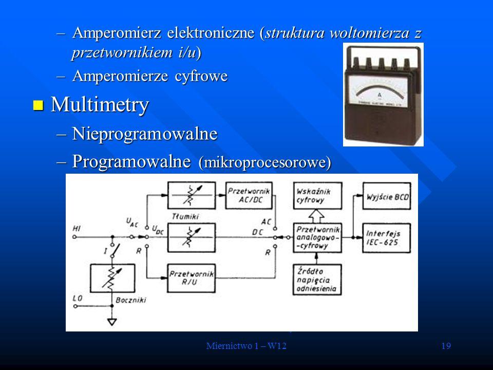Multimetry Nieprogramowalne Programowalne (mikroprocesorowe)