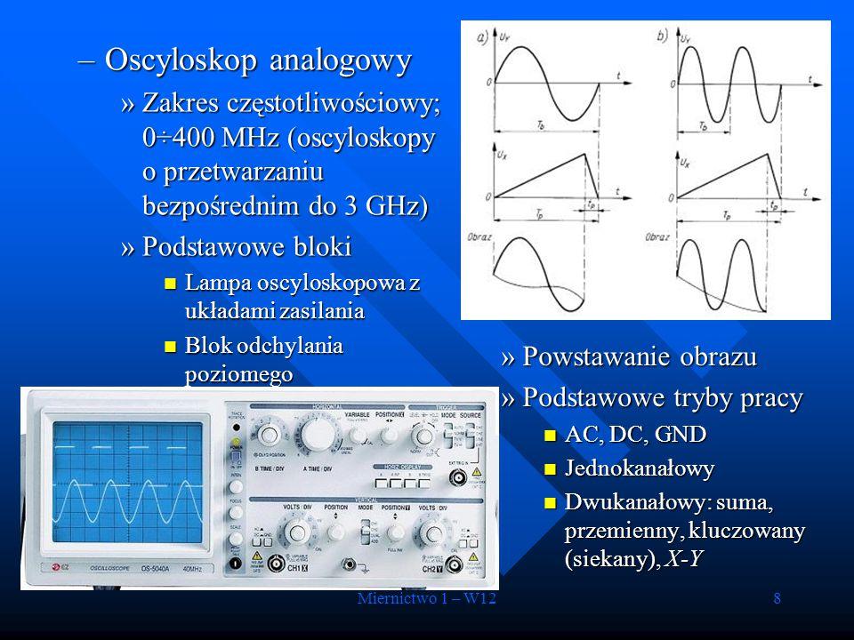 Oscyloskop analogowy Zakres częstotliwościowy; 0÷400 MHz (oscyloskopy o przetwarzaniu bezpośrednim do 3 GHz)