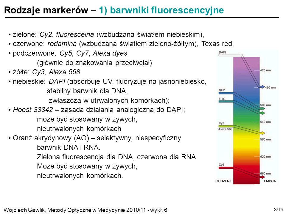 Rodzaje markerów – 1) barwniki fluorescencyjne