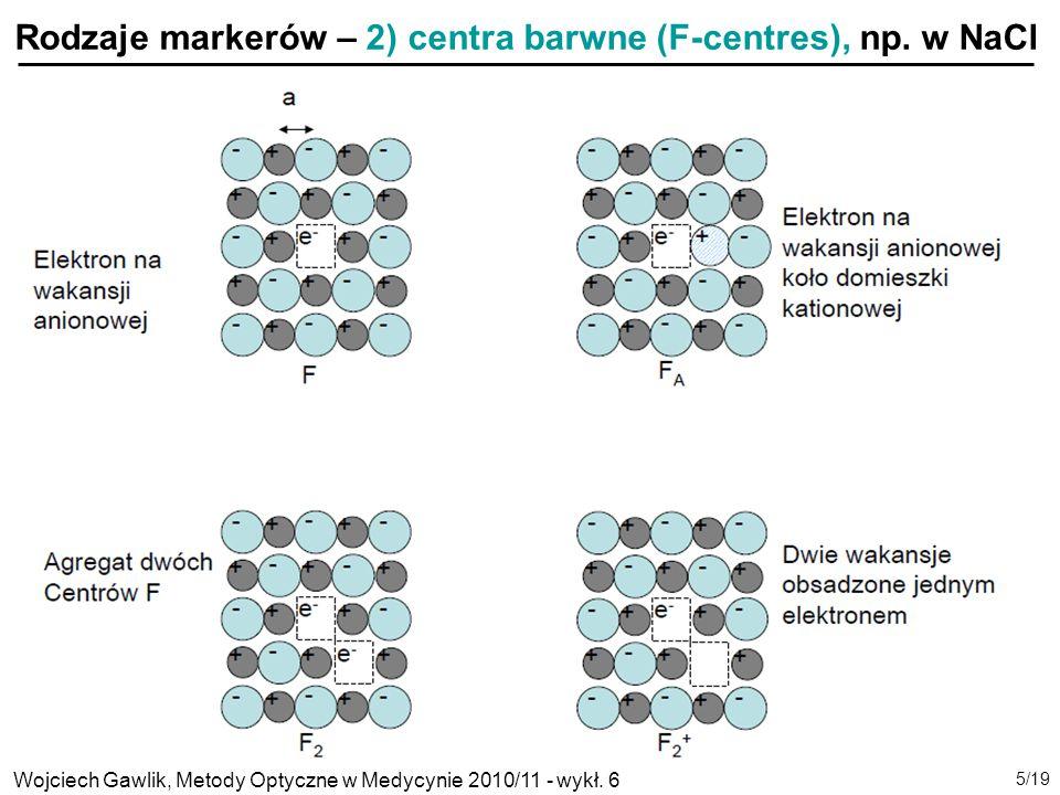 Rodzaje markerów – 2) centra barwne (F-centres), np. w NaCl