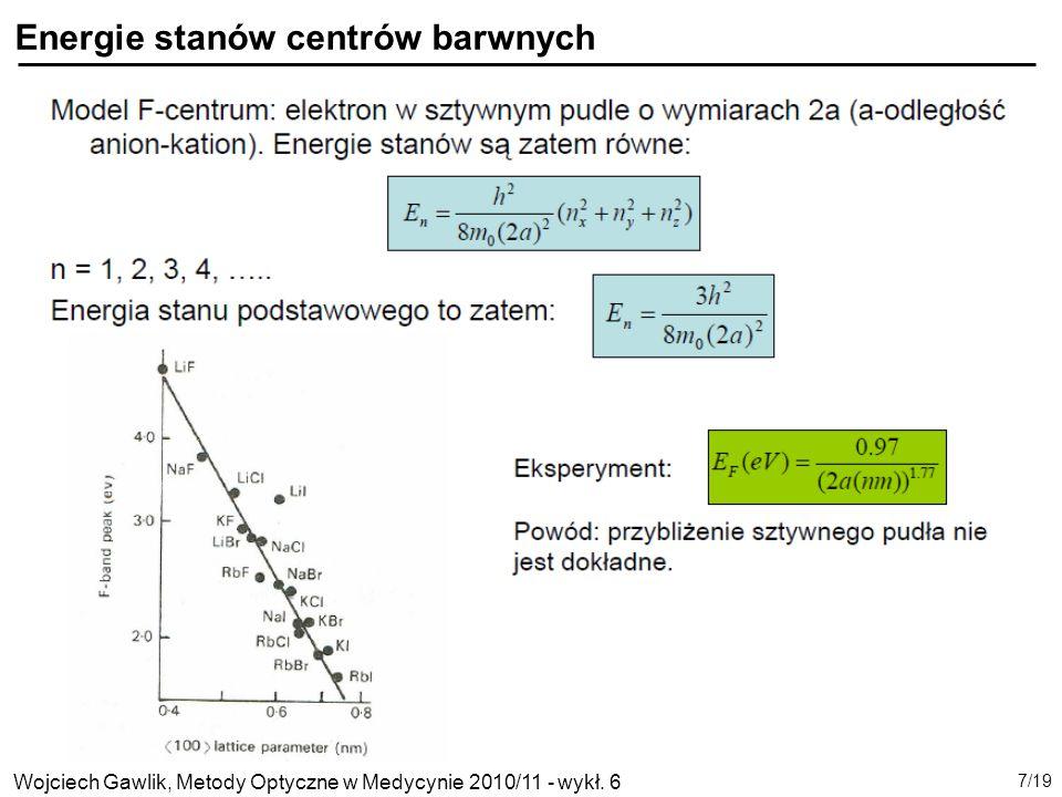 Energie stanów centrów barwnych