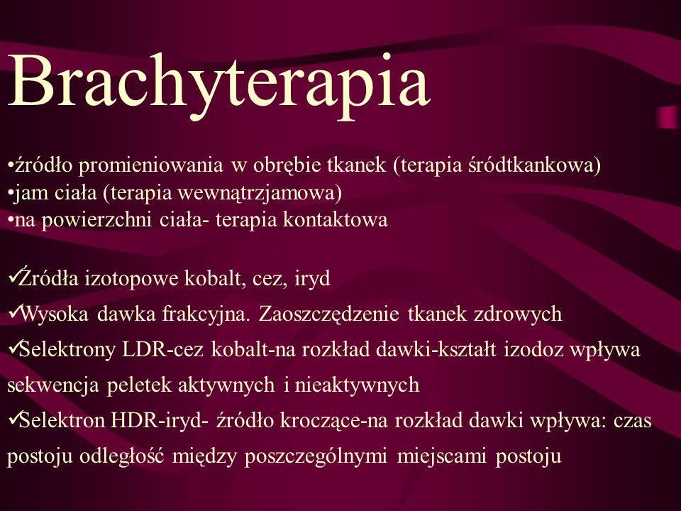 Brachyterapia źródło promieniowania w obrębie tkanek (terapia śródtkankowa) jam ciała (terapia wewnątrzjamowa)