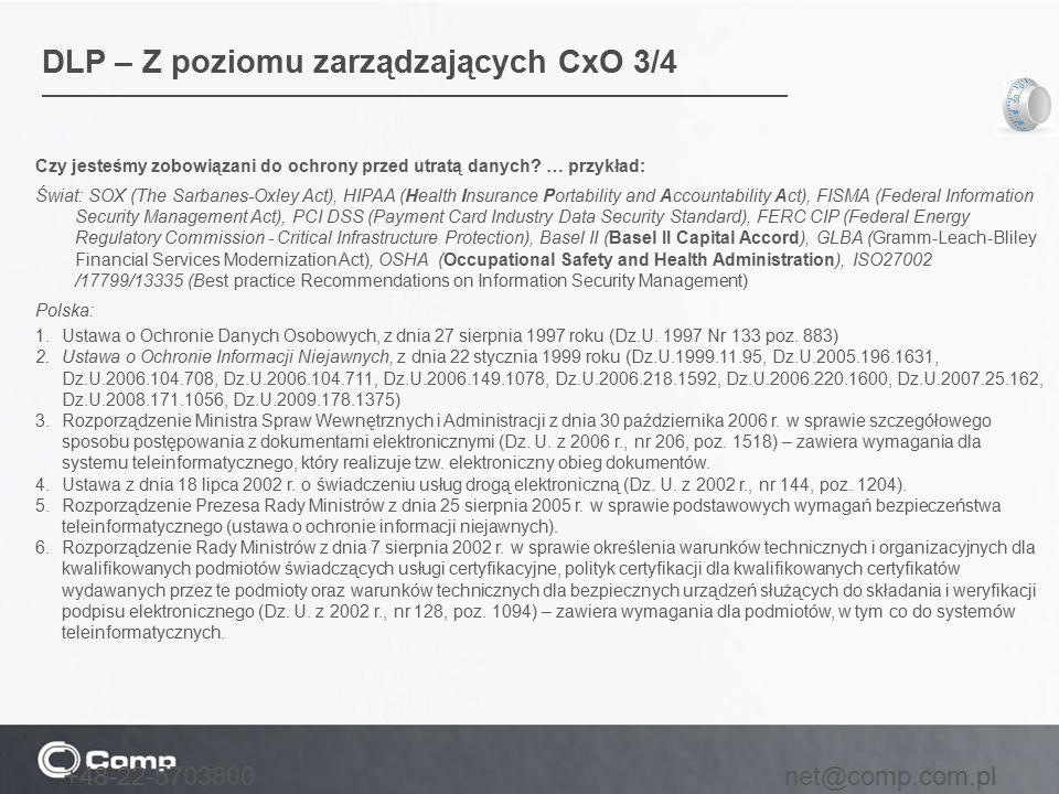DLP – Z poziomu zarządzających CxO 3/4