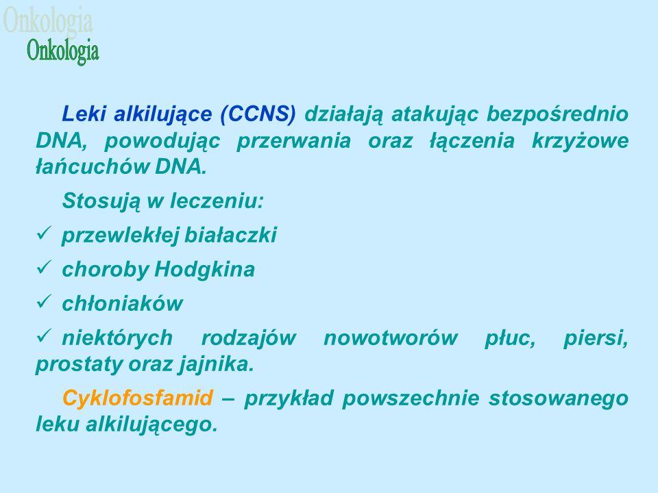 Onkologia Leki alkilujące (CCNS) działają atakując bezpośrednio DNA, powodując przerwania oraz łączenia krzyżowe łańcuchów DNA.