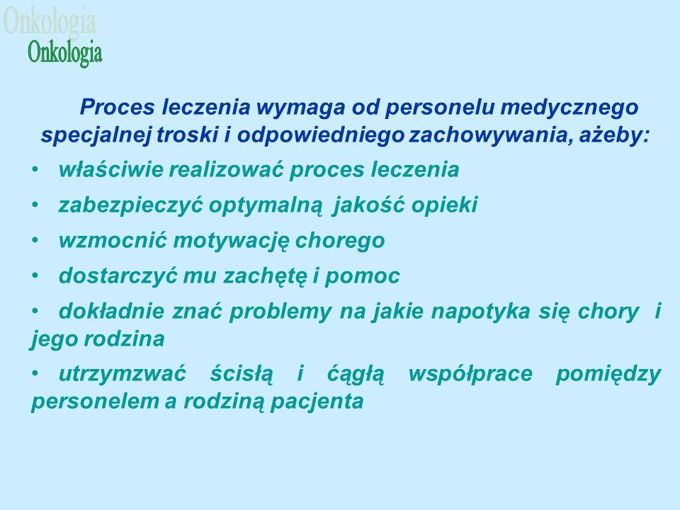 Onkologia Proces leczenia wymaga od personelu medycznego specjalnej troski i odpowiedniego zachowywania, ażeby:
